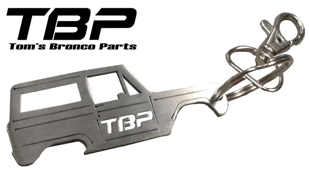 TBP Keychain, Stainless with Side Bronco Outline