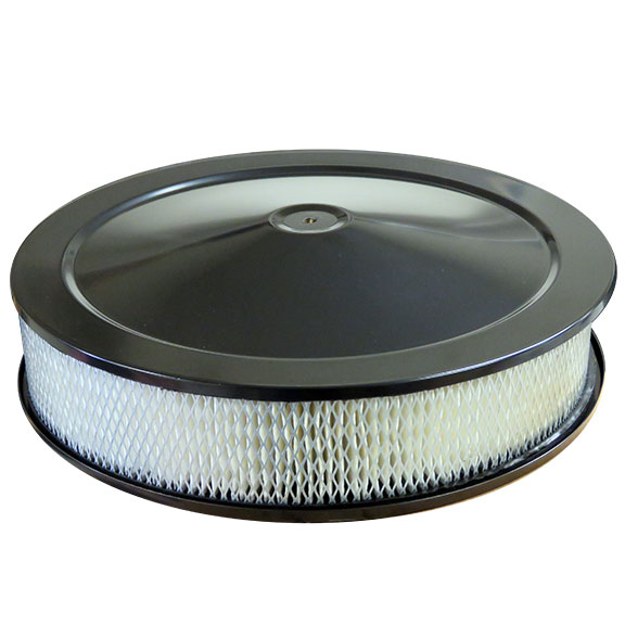 "BLACK Low Profile Air Cleaner for V8 Engine, 14"" Diameter"