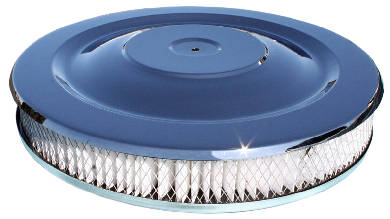 "Low Profile Chrome Air Cleaner for V8 Engine, 14"" Diameter"
