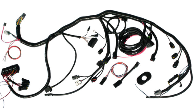 1973 1979 ford f series truck parts toms bronco parts 1977 F250 Wiring Diagram wiring harness for 5 0l or 5 8l efi fuel injection conversion loomed