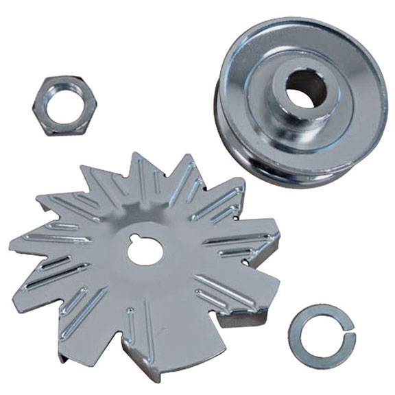 Alternator Pulley & Fan Set - Chrome, New