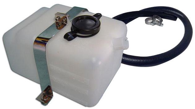 Radiator Overflow Bottle w/Hose Kit & Stainless Brackets, New
