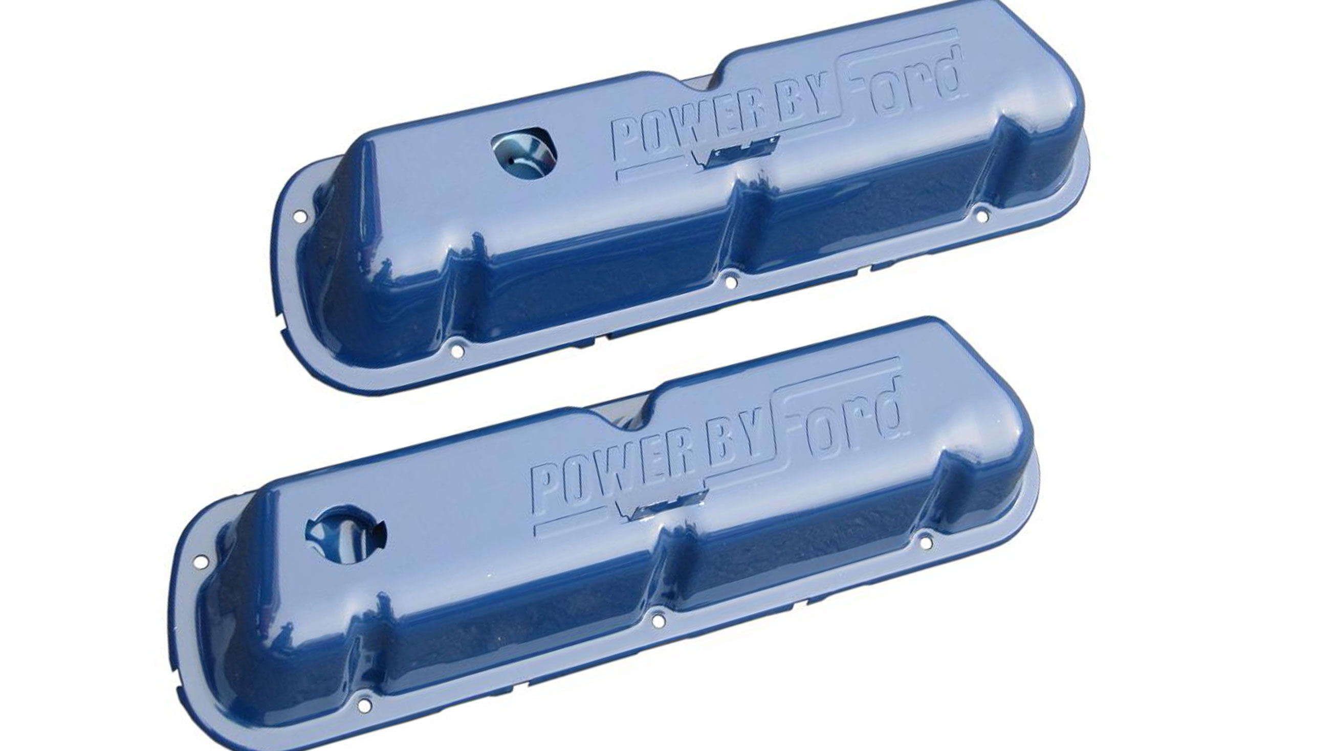 """Power by Ford"" Valve Covers - Blue, 289/302/351w"