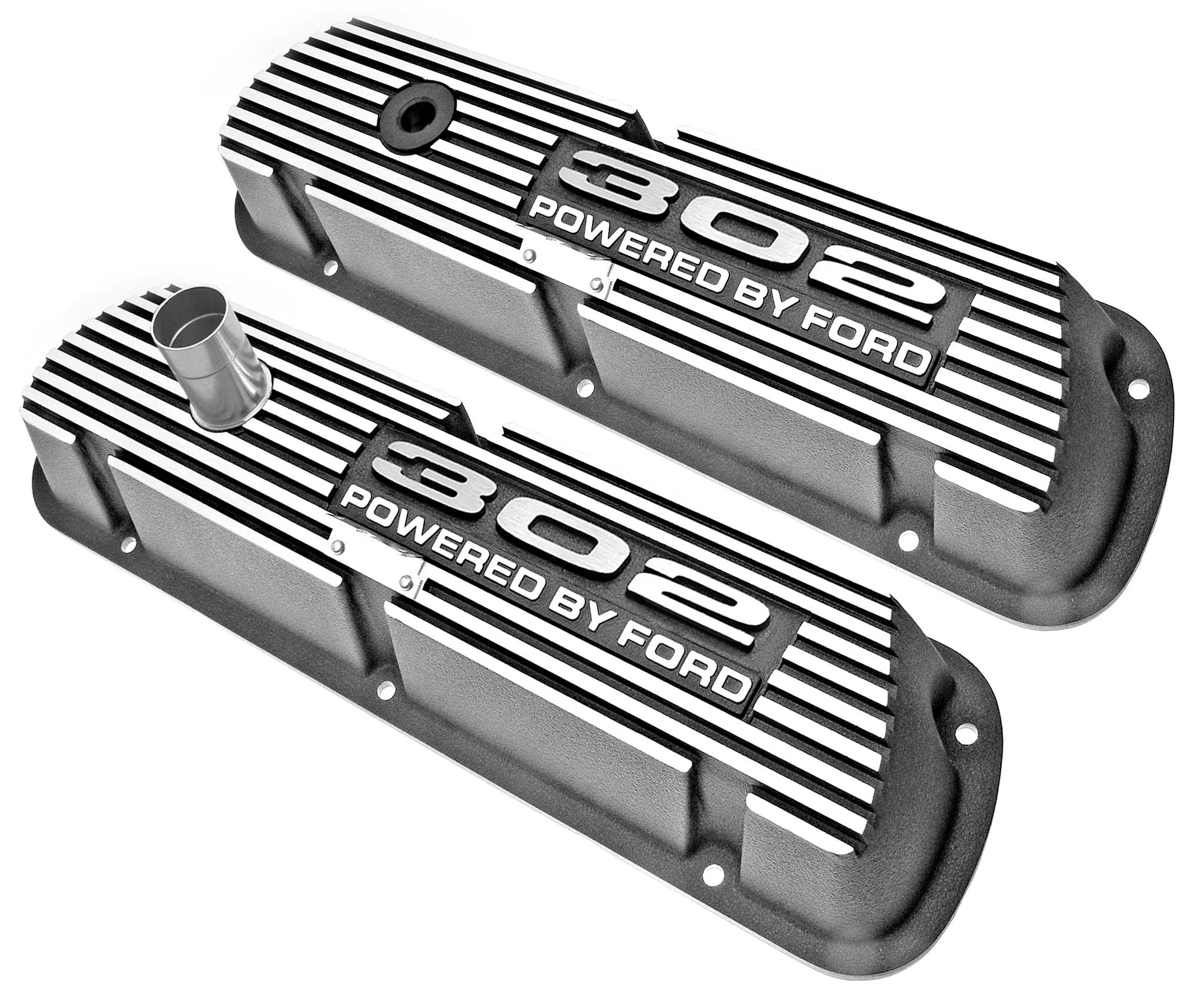 Aluminum Valve Covers - Black w/302 Engine Script