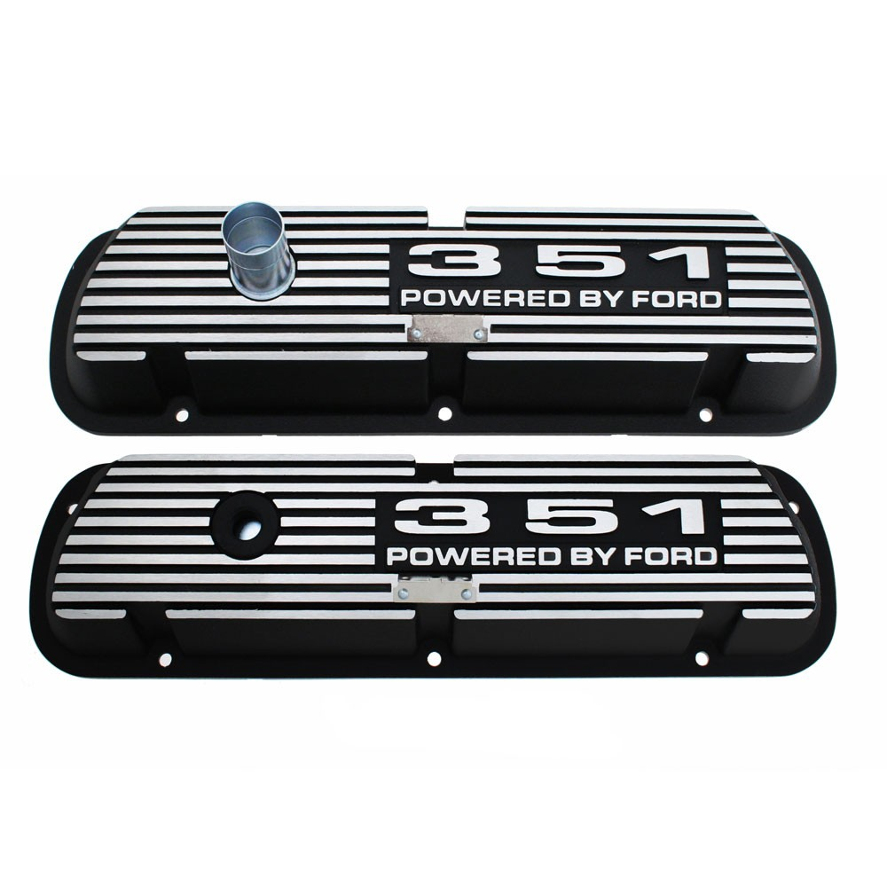 Aluminum Valve Covers - Black w/351 Engine Script