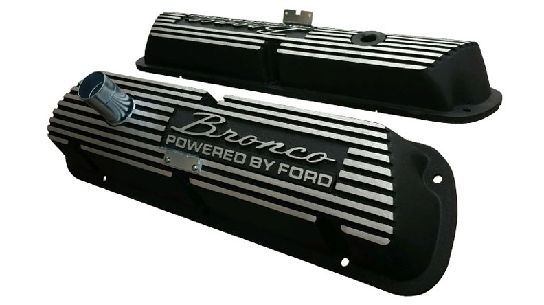 Aluminum Valve Covers - Black w/Bronco Script