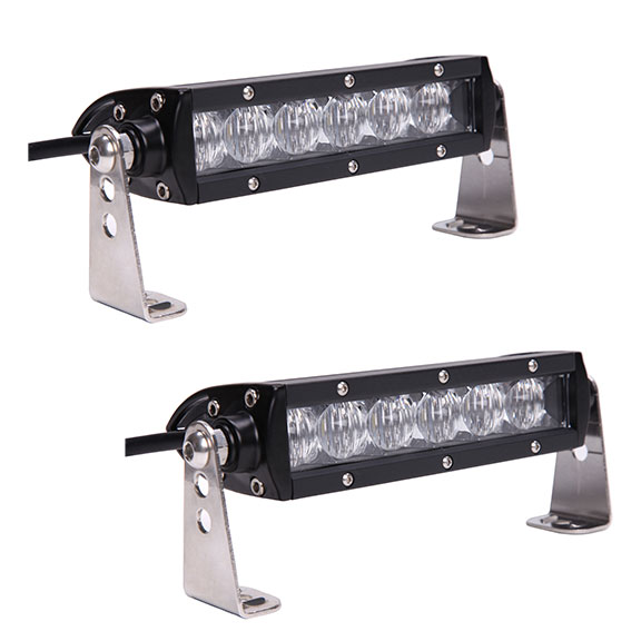 "PAIR of 6.5"" Single Row LED Light Bars by TBP Off-Road, FLOOD, New"