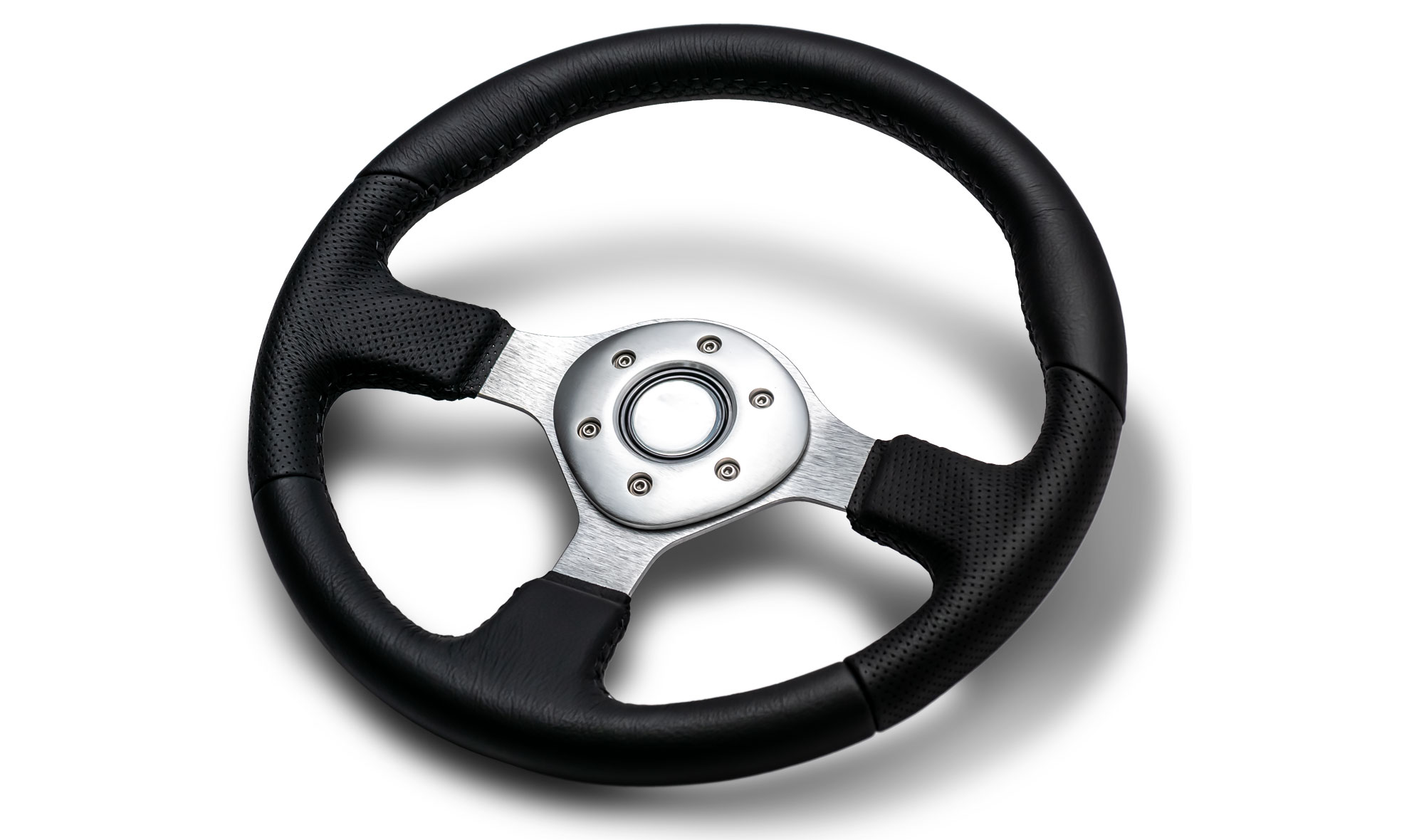 Custom Silver Steering Wheel w/Black Leather Wrap
