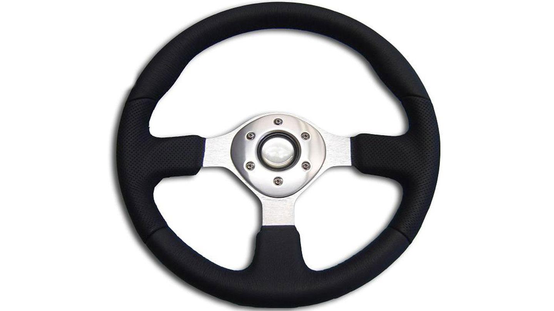 Custom Silver Steering Wheel w/Black Leather Wrap