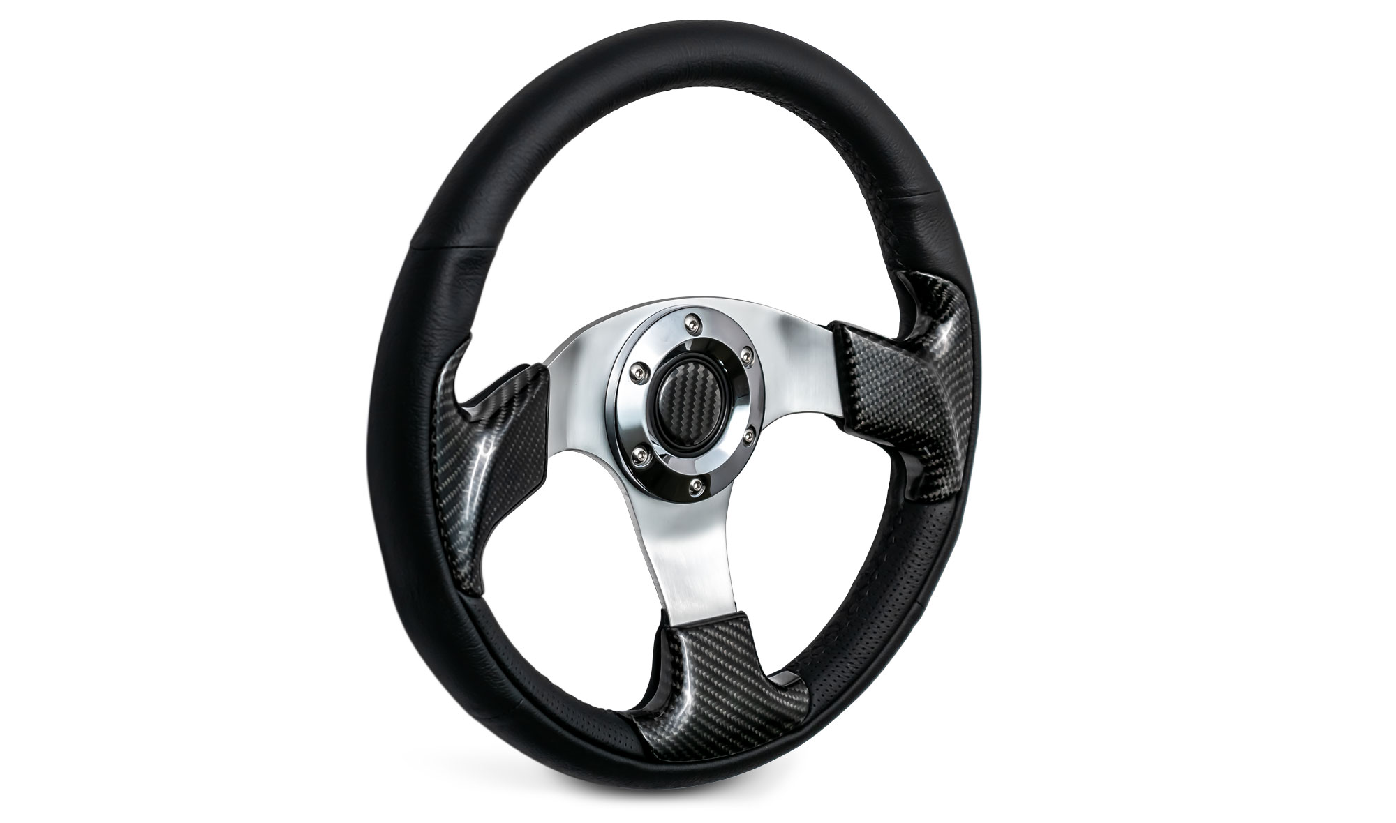 Custom Steering Wheel - Carbon Fiber w/Adapter, 66-77 Ford Bronco