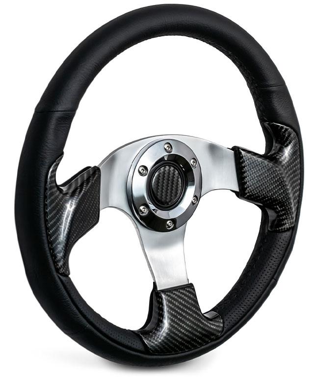 Custom Steering Wheel - Carbon Fiber w/Adapter, 66-77 Ford Bronco