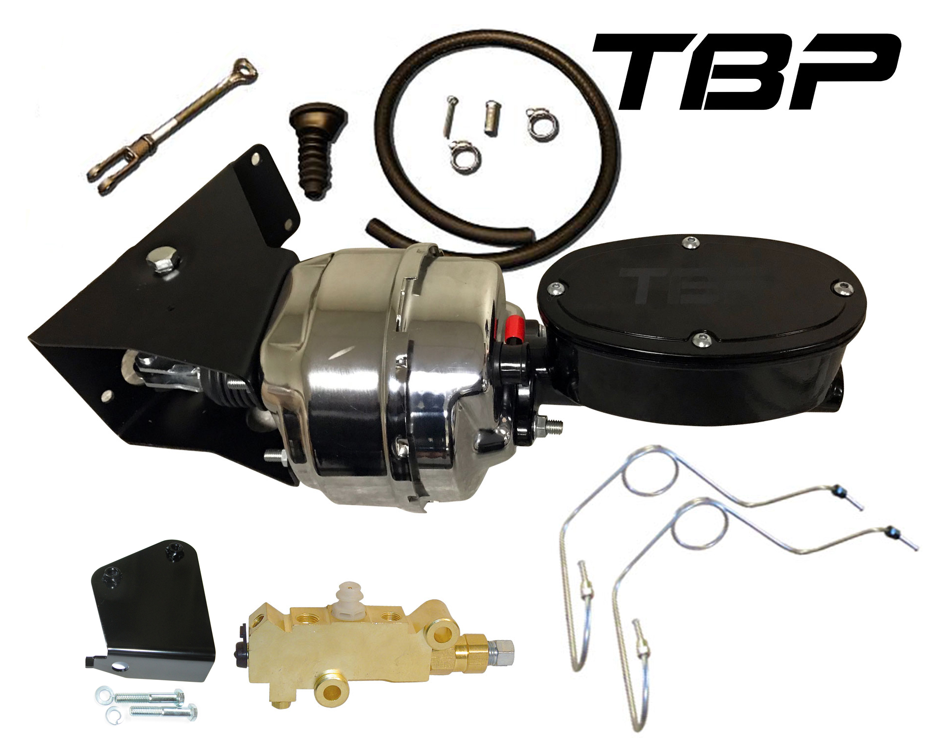 Power Brake Kit Billet w/SS Disc Lines, Prop Valve, Chrome Booster