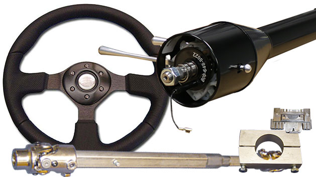 Black Tilt Column Kit - Floor Shift, Includes Custom Steering Wheel