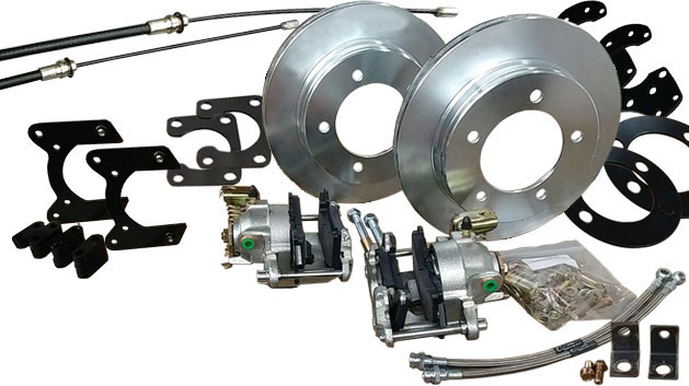 Rear Disc Brake Kit w/E-Brake for 10'' Drums, 66-75 Ford Bronco