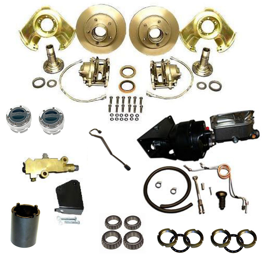 POWER Front Disc Brake Major Kit - Dana 30 & 44, Prop Valve & Bracket, Mile Marker Hubs, Wheel Bearings, Booster Kit
