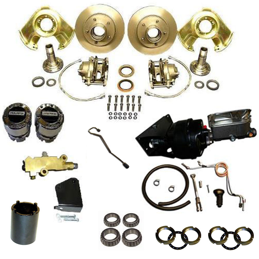 POWER Front Disc Brake Major Kit - Dana 30 & 44, Prop Valve & Bracket, Warn Hubs, Wheel Bearings, Booster Kit