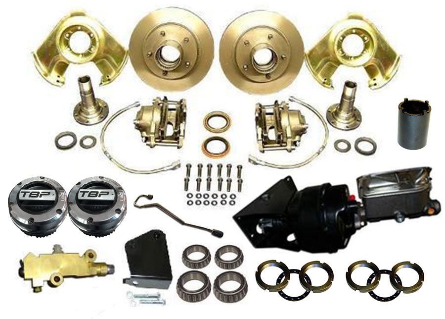 POWER Front Disc Brake Major Kit - Dana 30 & 44, Prop Valve & Bracket, TBP Hubs, Wheel Bearings, Booster Kit