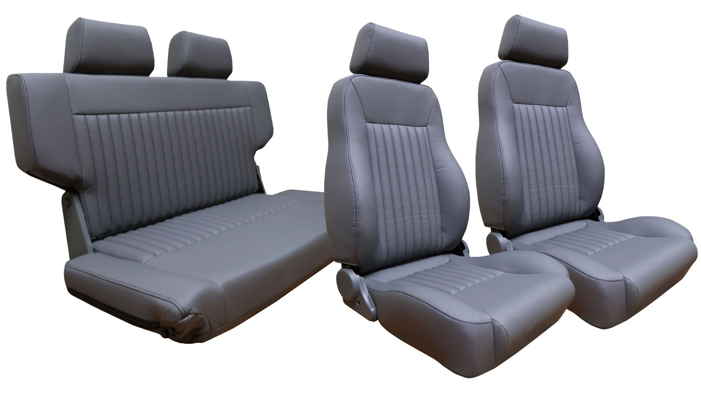 PREMIUM Seat Kit Front Buckets w/ Fold & Tumble Seat - Gray w/Brackets
