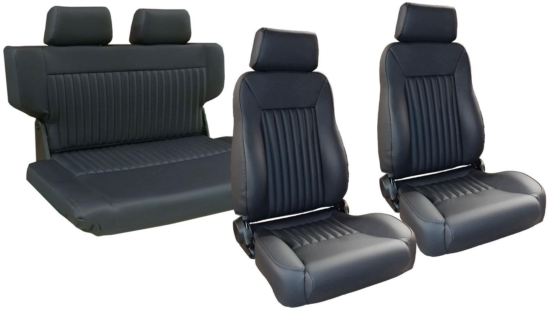 PREMIUM Seat Kit Front Buckets w/ Fold & Tumble Seat - Black w/Brackets