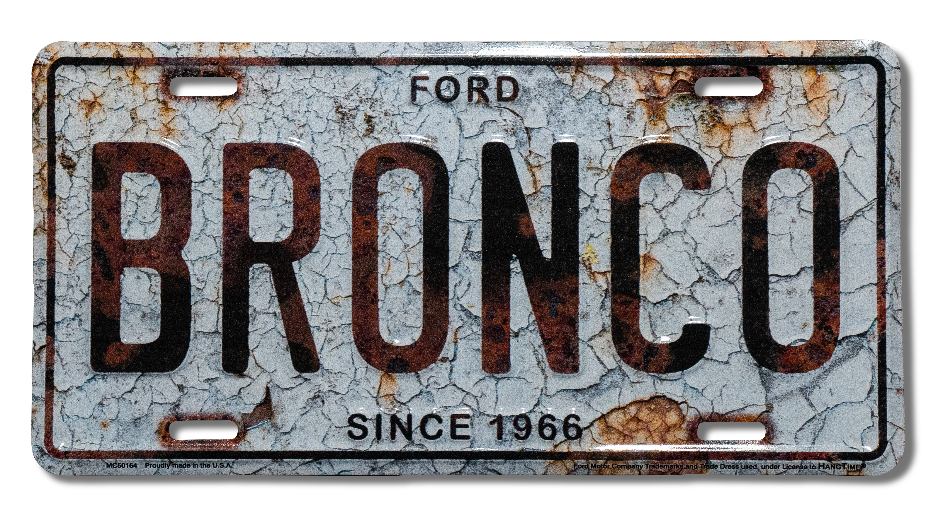 "Embossed Sign - ""Bronco"", Cracked License Plate"