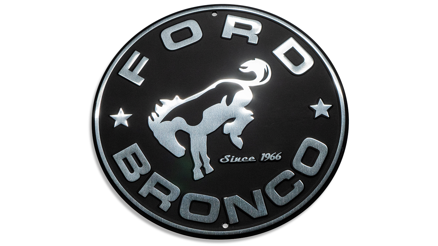 "Embossed Sign -""Ford Bronco"", Black 11.75"" Round"