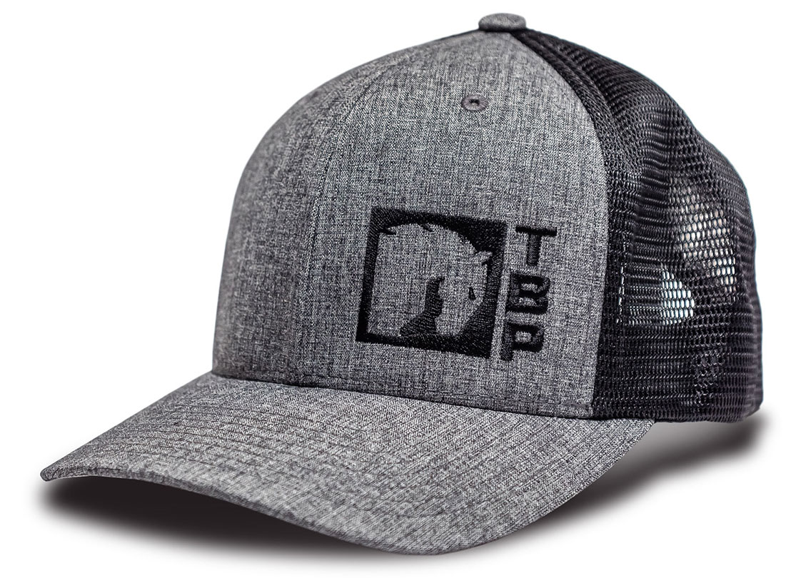 TBP 110 Trucker Hat - Charcoal and Black w/Black Logo