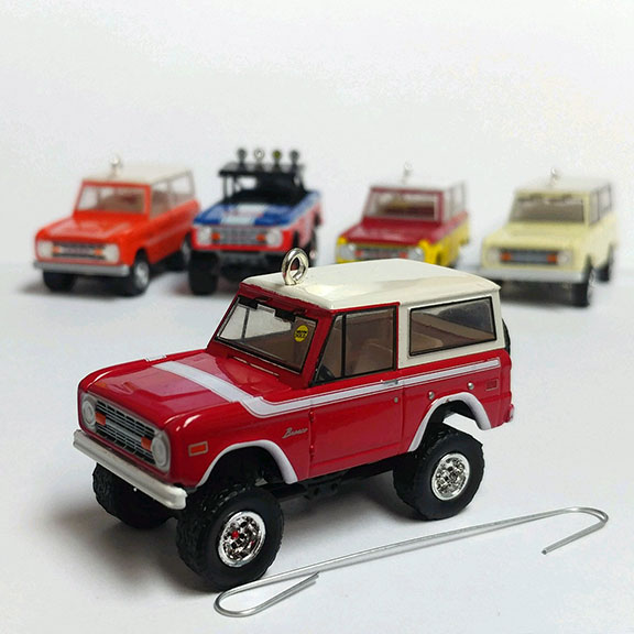 Christmas Ornament - Red 1975 Ford Bronco, Mecum Auctions, 1:64 Die Cast