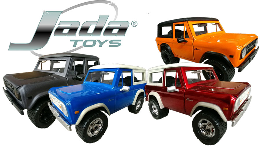 Jada ''JUST TRUCKS'' 1973 Ford Broncos - 1:24 Die Cast, Set of 4