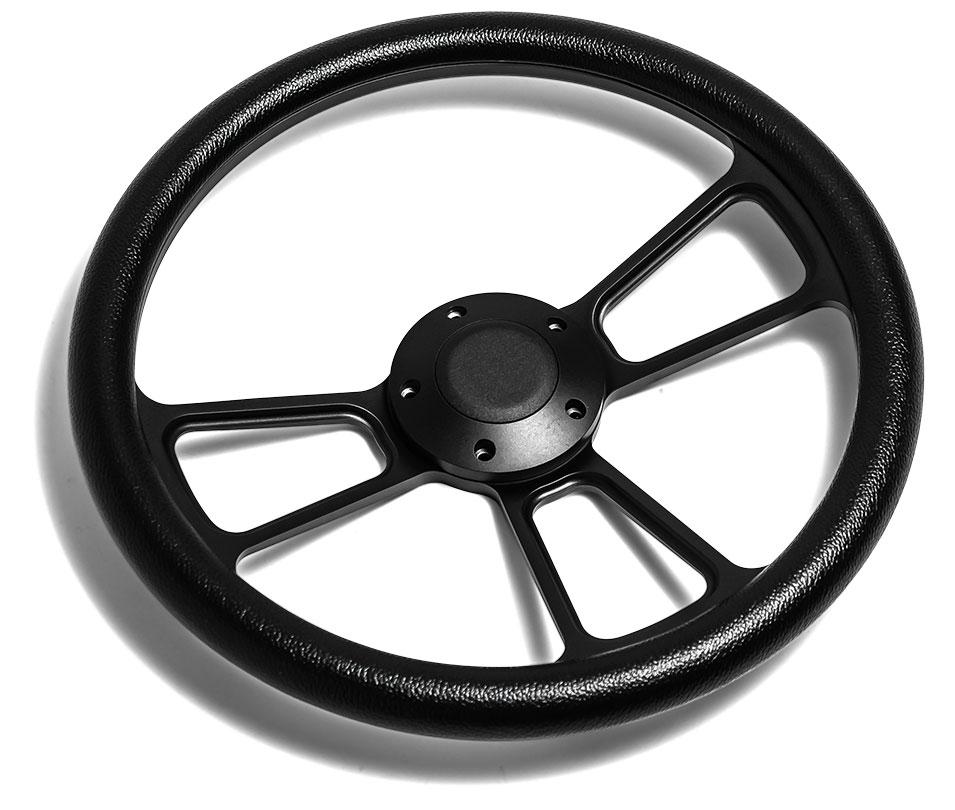 Black Billet Steering Wheel w/Black Vinyl Wrap