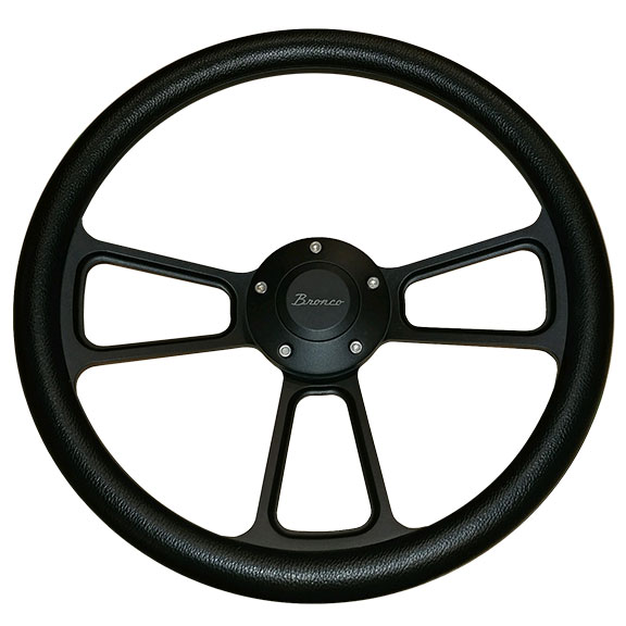 "Black ""Bronco"" Script Steering Wheel w/Black Vinyl Wrap"