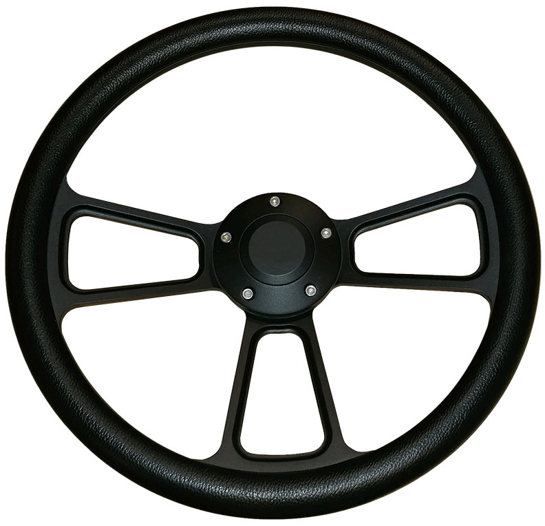 Black Billet Steering Wheel w/Black Vinyl Wrap