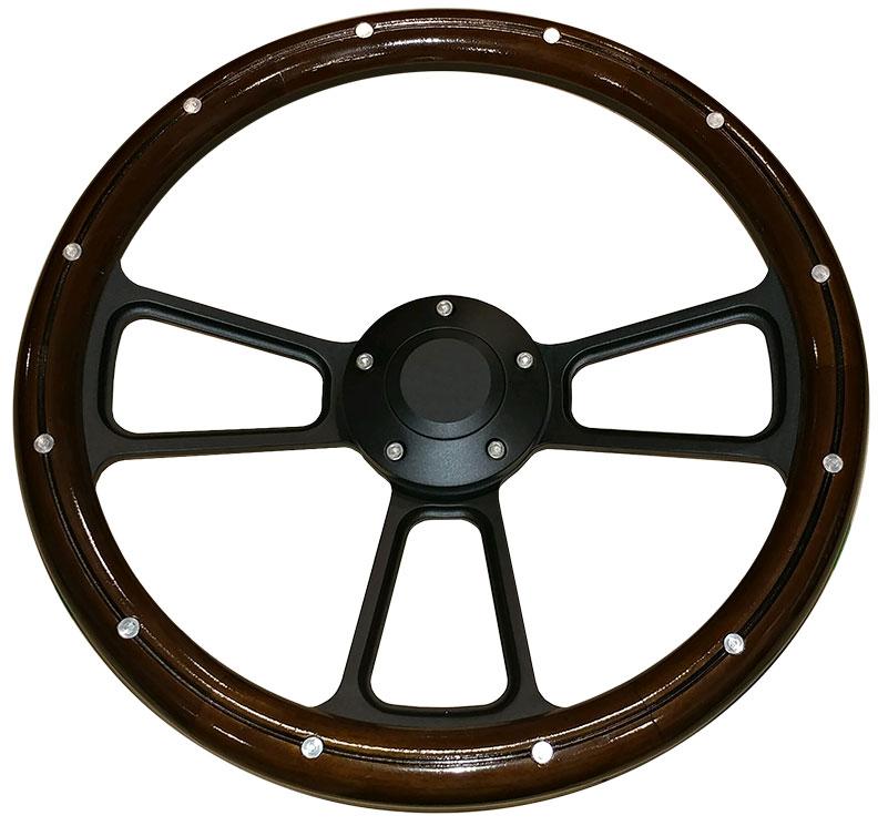 Black Steering Wheel w/Mahogany Wood Wrap