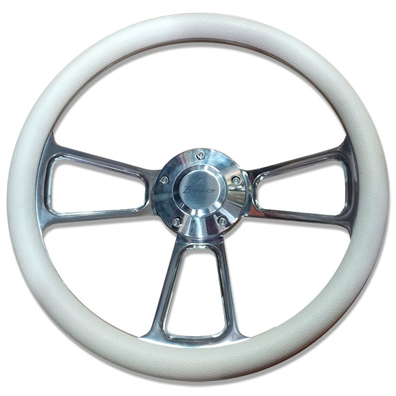 "Polished Billet ""Bronco"" Script Steering Wheel w/Cream Vinyl Wrap, Used"