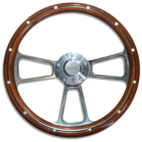 "Polished Billet ""Bronco"" Script Steering Wheel w/Mahogany Wood Wrap"