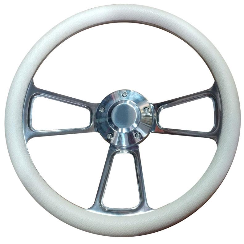 Polished Billet Steering Wheel w/Cream Vinyl Wrap
