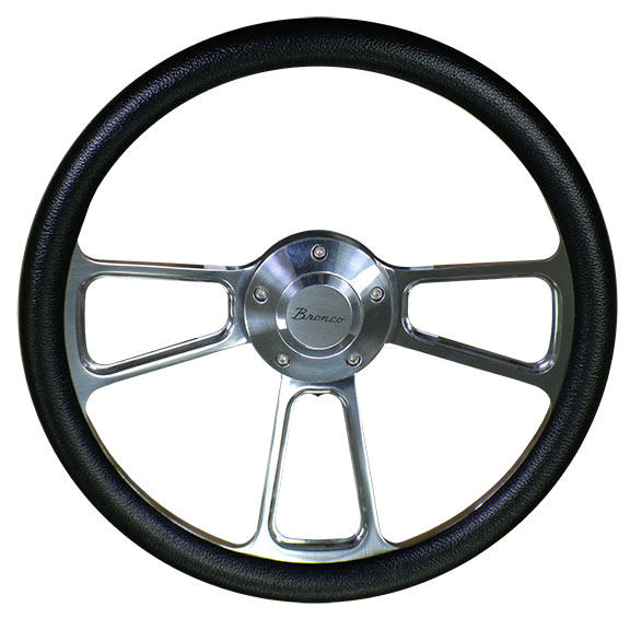 "Polished ""Bronco"" Script Steering Wheel w/Black Vinyl Wrap"