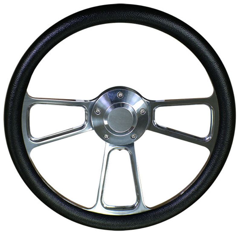 Polished Steering Wheel w/Black Vinyl Wrap