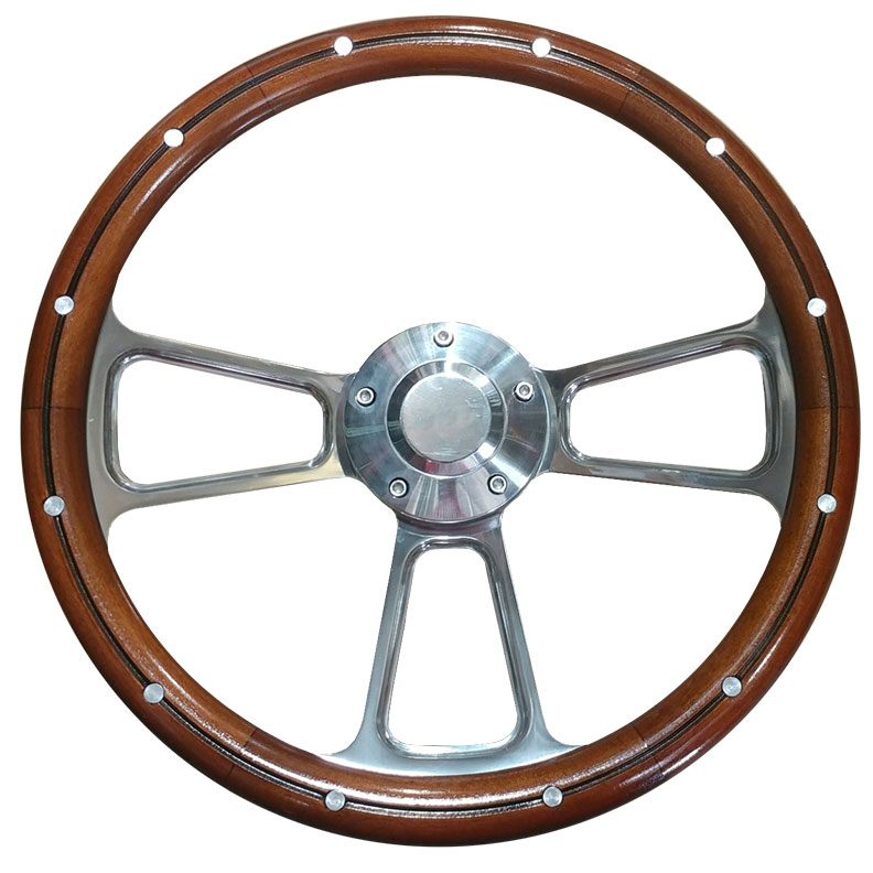 Polished Billet Steering Wheel w/Mahogany Wood Wrap