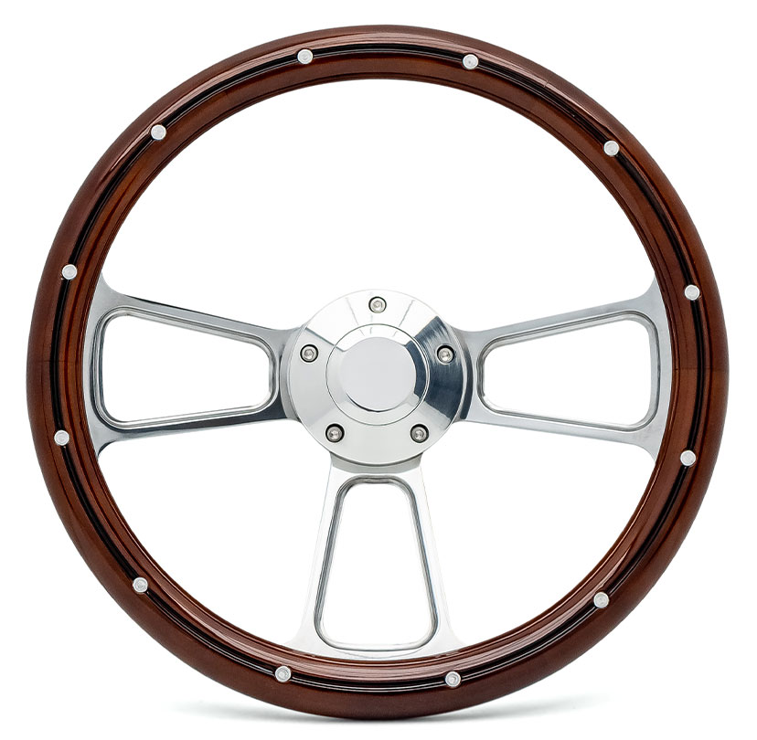 Polished Billet Steering Wheel w/Mahogany Wood Wrap