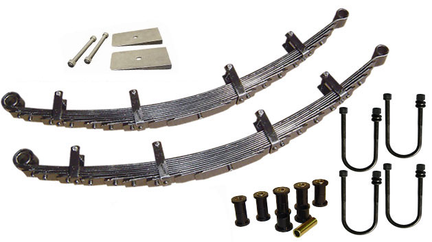Leaf Springs - 5.5'', ULTRA-FLEX, 9-pk w/Bushings, Shims & U-Bolts (pair)