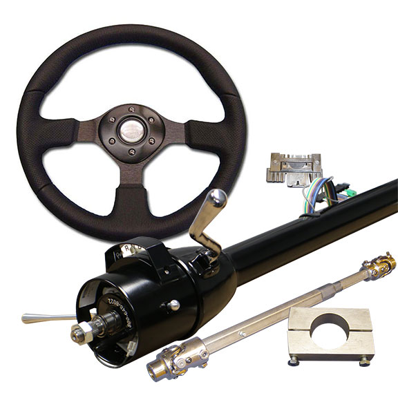Black Tilt Column Kit - Automatic, Includes Custom Steering Wheel