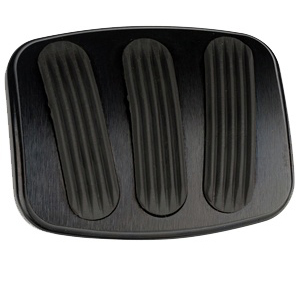 Medium Brake/Clutch Pedal Pad - BLACK Billet Aluminum w/Rubber Grips
