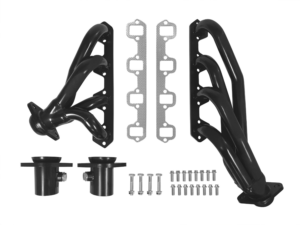 Black Shorty Headers, w/ Mounting Hardware (fits 289, 302)