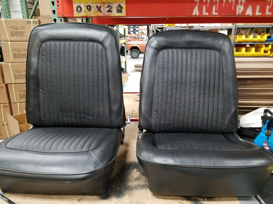 OEM Style Front Bucket Seats w/ Mounting Brackets, Pair, Used, 66-77 Early Ford Bronco #2