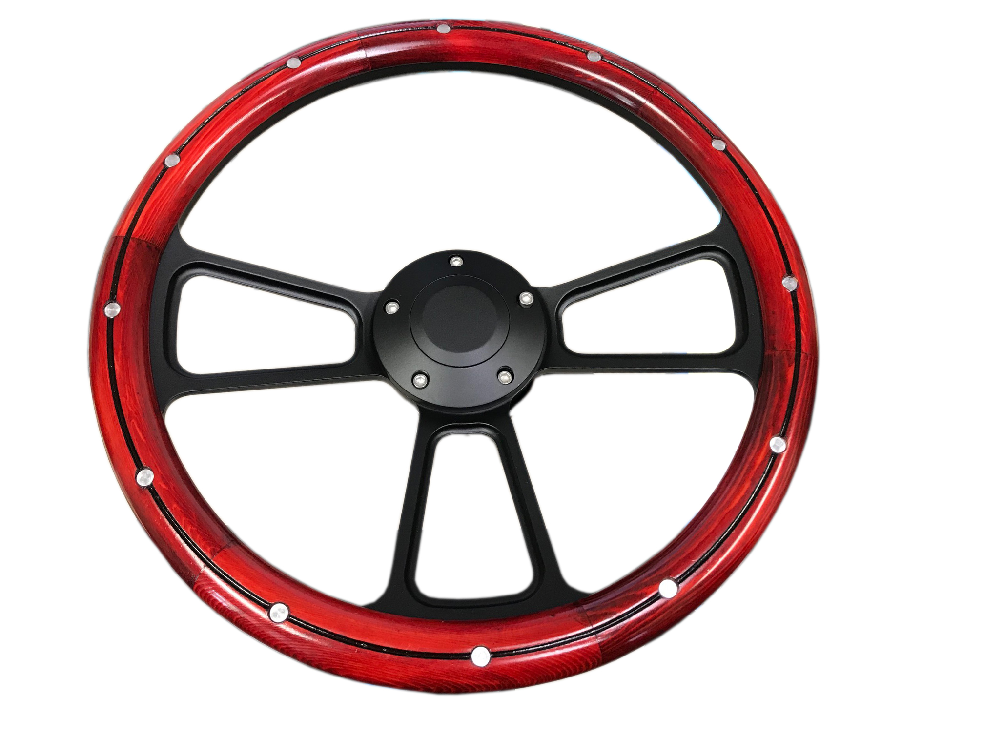Black Steering Wheel w/ Cherry Wood Wrap