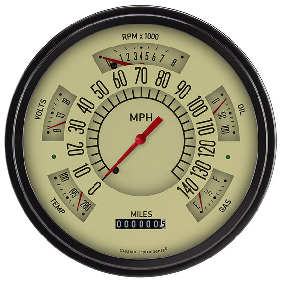 CLASSIC INSTRUMENTS Electronic Gauge Cluster - Tan Face