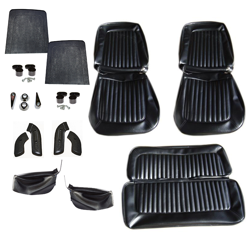 Deluxe Seat Upholstery Kit - Full Set Black, 68-77 Bronco