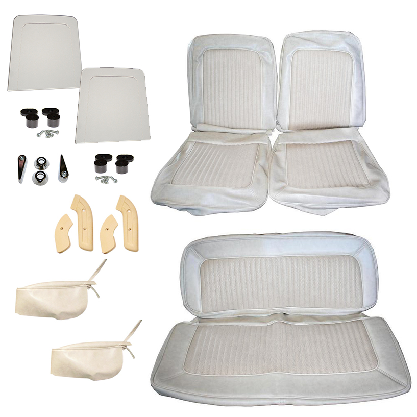 Deluxe Seat Upholstery Kit - Full Set Parchment, 68-77 Bronco