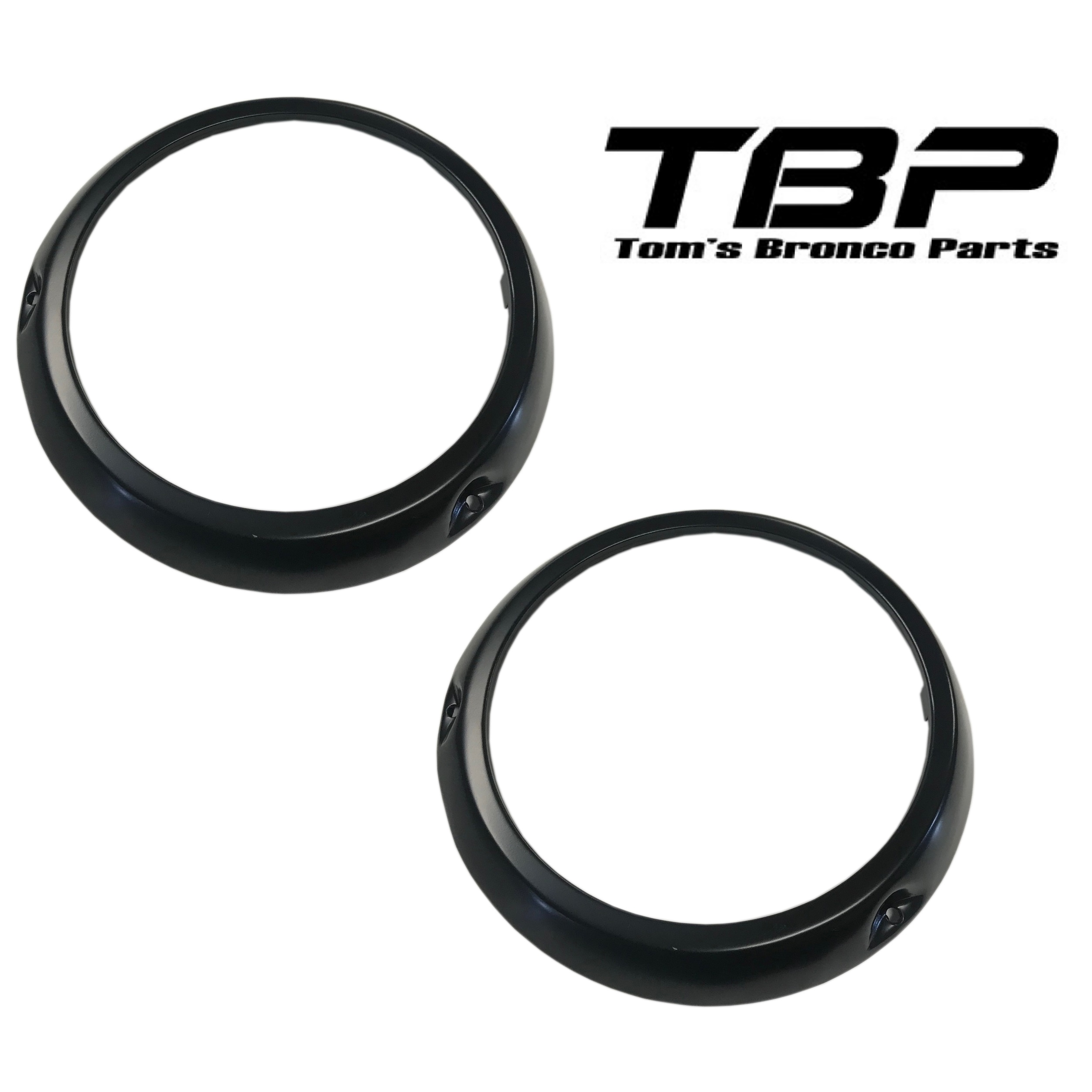 Black Headlight Bezel Rings, 66-70 Ford Bronco, pair