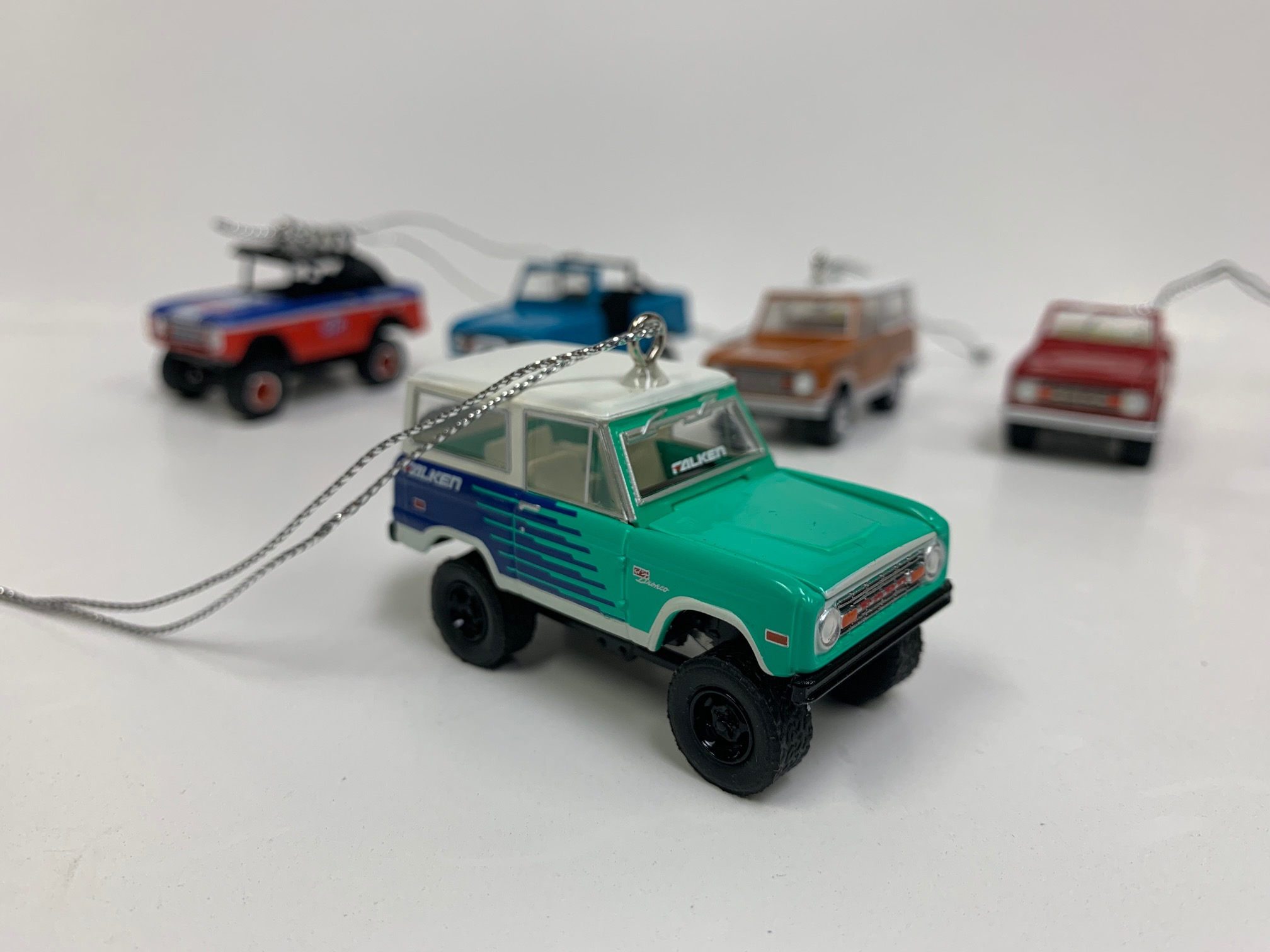 Christmas Ornament - 1974 Ford Bronco, Teal ''Falken Tires'', 1:64 Die Cast